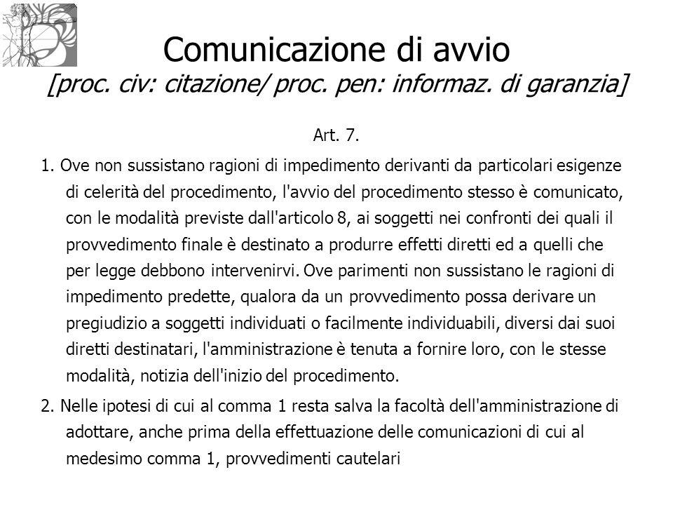 Comunicazione di avvio [proc. civ: citazione/ proc. pen: informaz